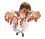 Guy looking and pointing up Royalty Free Stock Photography