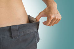 Guy loose their weight, healthy diet lifestyle Stock Image