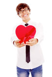 Guy in love giving present Stock Images