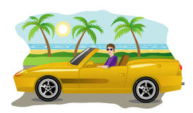 Guy on a luxury car Stock Image