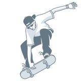 Guy makes jump on skateboard Stock Photography