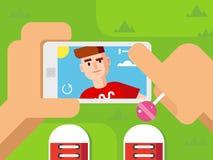 Guy Makes Selfie on Smart Phone Flat Design Stock Image