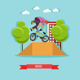 Guy makes a stunt on BMX, flat design Royalty Free Stock Photo