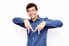 Guy making M sign with hands Royalty Free Stock Images