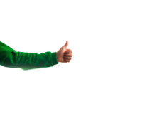 Guy, man hipster, showing a thumbs up isolated on a white backgr Stock Image