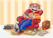 Guy/man reading Brochures in Easy Chair - Illustration Stock Photo