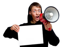 Guy with megaphone Stock Images