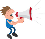 Guy with Megaphone. Guy yelling or screaming into a megaphone Stock Images