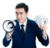 Guy with a megaphone and money Royalty Free Stock Photo