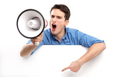 Guy with megaphone and white board Stock Photos