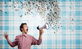 Guy with megaphone Stock Photos