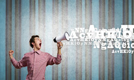 Guy with megaphone Royalty Free Stock Photo