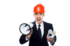 Guy with a megaphone Royalty Free Stock Photo