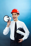 Guy with a megaphone Stock Image