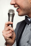 Guy with microphone Stock Photography