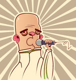 Guy with the microphone. Singing songs Royalty Free Stock Images