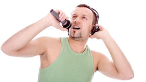 Guy with a microphone Stock Images