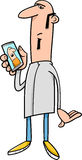 Guy with mobile cartoon Stock Photography