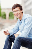 Guy with mobile phone Royalty Free Stock Photography