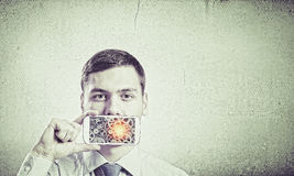 Guy with mobile phone Stock Image
