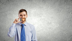 Guy with mobile phone Royalty Free Stock Photos