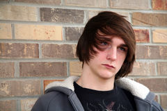 Guy Model. Cute teen boy with great hair by brick wall Stock Images