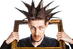 Guy with a Mohawk. A man with a mohawk and beard, isolated stock images