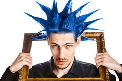 Guy with a Mohawk. A man with a mohawk and beard, isolated royalty free stock image