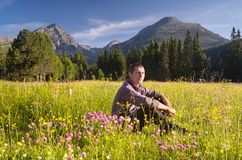 Guy in the mountains Stock Photos