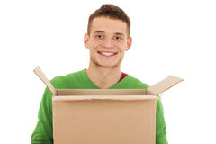 Guy With Moving Box - Isolated - Stock Image Stock Images