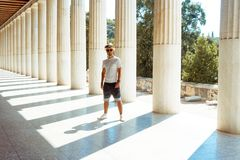 Guy in the Museum of ancient Greece royalty free stock photography