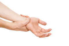 Guy, my arm is hurting, wrist royalty free stock image