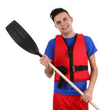 Guy with an oar Royalty Free Stock Photography