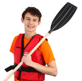 Guy with oars Stock Image