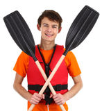 Guy with oars Royalty Free Stock Photos