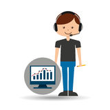 Guy operator help service computer statistics. Vector illustration eps 10 Royalty Free Stock Photography