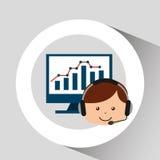 Guy operator help service computer statistics. Vector illustration eps 10 Stock Image