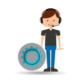 Guy operator help service gear. Vector illustration eps 10 Royalty Free Stock Photography