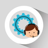 Guy operator help service gear Royalty Free Stock Image