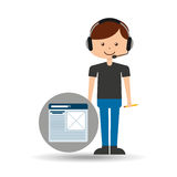 Guy operator help service report. Vector illustration eps 10 Royalty Free Stock Image