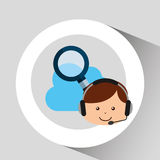 Guy operator help service search cloud. Vector illustration eps 10 Royalty Free Stock Image