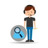 Guy operator help service search cloud. Vector illustration eps 10 Royalty Free Stock Photo