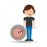 Guy operator help service target. Vector illustration eps 10 Stock Photos