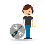 Guy operator help service technical support. Vector illustration eps 10 Royalty Free Stock Image