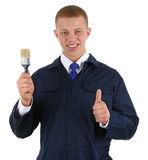 Guy with a paintbrush Royalty Free Stock Photos