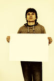 Guy with paper sign. Stock Photography