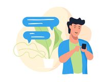 Guy with phone. Messaging chatting smartphone, speech bubble. Vector illustration Royalty Free Stock Photography
