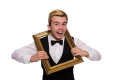Guy with photo frame on white Royalty Free Stock Photo