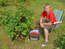 The guy picking red currants Royalty Free Stock Image
