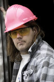 Guy in Pink Hardhat stock photos